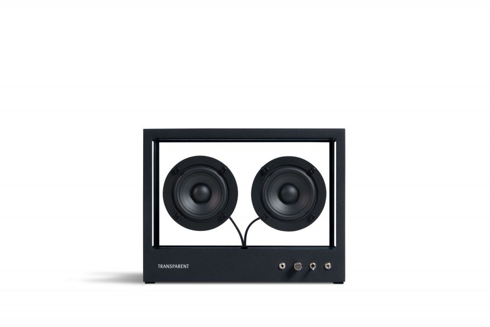 Design glass speaker. Small Transparent Speaker Black